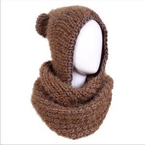 Hooded Knit Infinity Scarf - Khaki